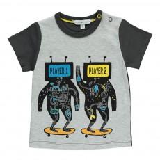 T-Shirt Bicolore Robots Gris chiné