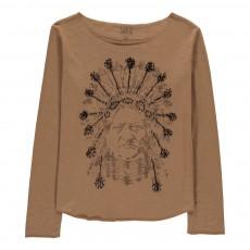 T-Shirt Indien Détails Brodés Priamin Camel