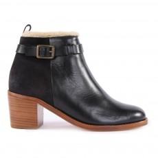 Boots 2 Cuirs Fourrées Nadine Noir