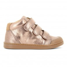 Baskets Cuir Irisé Scratchs Ten 3 Rose