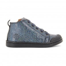 Baskets Cuir Lacets Zip Paillettes Ten Mid Bleu nuit