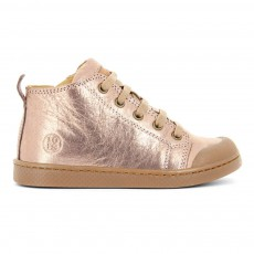 Baskets Cuir Irisé Lacets Zip Ten Mid Rose