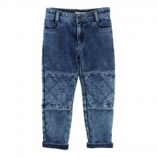 Pantalon Molleton Empiècements Genoux Denim