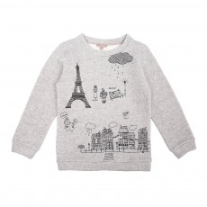 Sweat Broderies Tour Eiffel Gris chiné