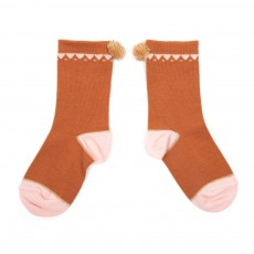 Chaussettes Triangles Pompon Caramel