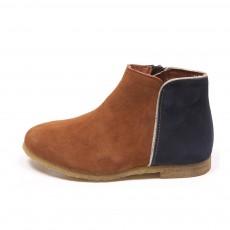 Boots Bicolores Liseré Argenté Ida Caramel