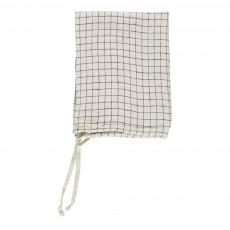 Torchon/essuie-main en lin lavé Carreaux Blanc-Noir 55x80 cm