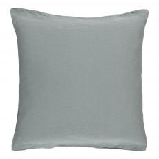 Housse de coussin en lin lavé Bleu gris