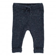 Pantalon Maille Moucheté Nat Bleu marine