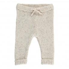 Pantalon Maille Moucheté Nat Ecru