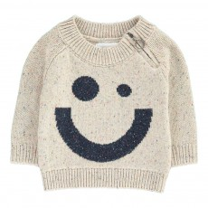 Pull Smiley Chiné Nat Zip X Antoine Peters Ecru