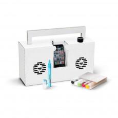 Enceinte façon Ghetto blaster 3.0 avec port USB Montana et 6 feutres Blanc