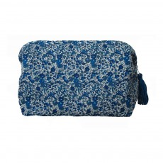 Trousse de toilette en Liberty deep blue Bleu