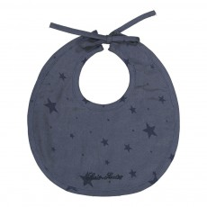 Bavoir en coton étoiles bleues Bleu