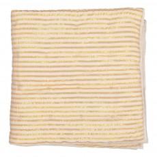 Edredon en coton 90x90 cm rayée ivoire/or Ivoire