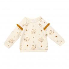 Sweatshirt Imprimé à Franges Crème