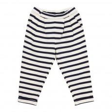Pantalon à Rayures Poche Triangle Bleu marine