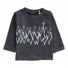 T-Shirt Zig Zag Coton Bio Bleu gris