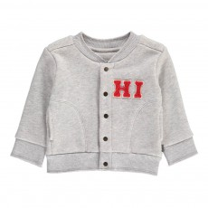 Sweat Baseball Pressions Coton Bio Gris clair