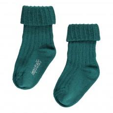 Chaussettes Côtelées Coton Bio Vert