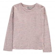 T-Shirt Chiné Col Rond Rose