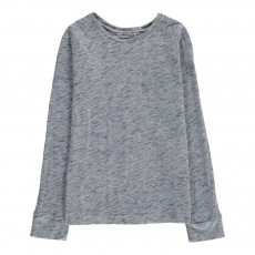 T-Shirt Chiné Col Rond Bleu chiné