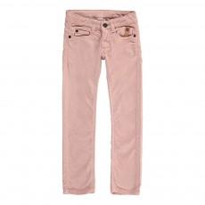 Pantalon Slim Velours Cinq Poches Rose pâle