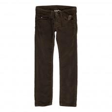 Pantalon Slim Velours Cinq Poches Brun kaki