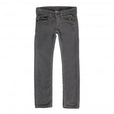Pantalon Slim Velours Cinq Poches Gris