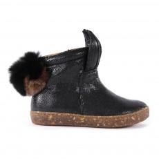 Boots Zippées Pompon Noir