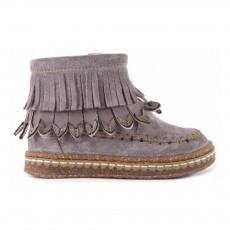 Boots Suède Franges Zippées Gris