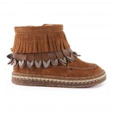 Boots Suède Franges Zippées Camel