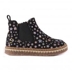 Boots Suède Etoiles Zippées Noir