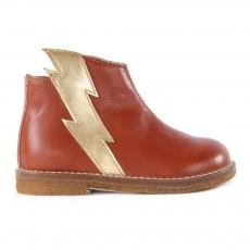 Boots Cuir Eclair Zippées Camel