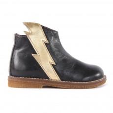 Boots Cuir Eclair Zippées Noir