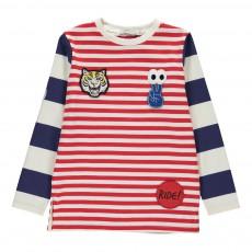 T-shirt Rayé Patchs Pow Rouge