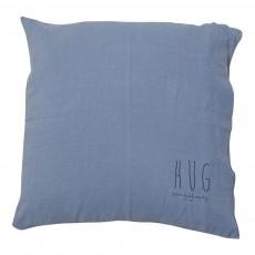 Coussin garni en lin lavé sérigraphié 80x80 cm Bleu gris