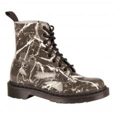 Boots Cuir Verni Effet Marbre Pascal Noir