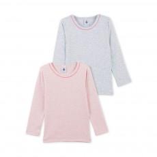 Lot de 2 T-Shirts Chinés Manches Longues Rose pâle