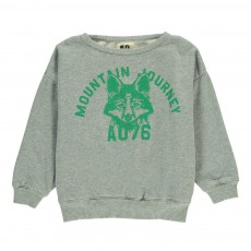 "Sweat Tête Loup ""Mountain Journey"" Gris chiné clair"