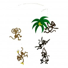 Mobile singes dans les arbres Multicolore