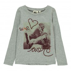 "T-Shirt Photo ""Love"" Gris chiné clair"