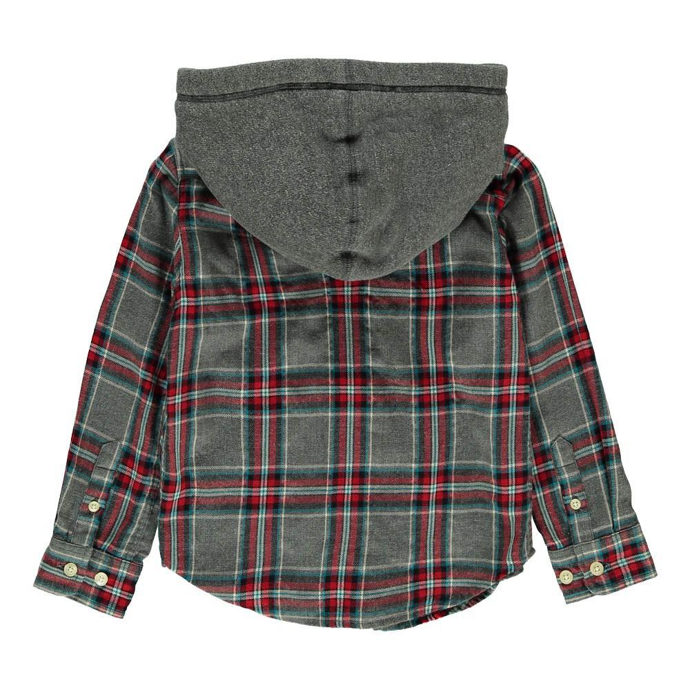 chemise capuche carreaux gris ao76 mode ado gar on smallable. Black Bedroom Furniture Sets. Home Design Ideas