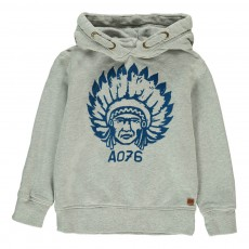 Sweat Capuche Indien Gris chiné clair