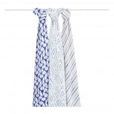 Langes-plaids 120x120 cm en bambou encre - Pack de 3 Bleu indigo