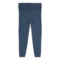 Pantalon Côtelé Laine Fine Bleu indigo