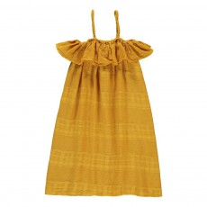 Robe Texturée Volants Nicks Jaune moutarde
