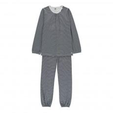 Pyjama 2 Pièces Rayé Decousu Bleu marine