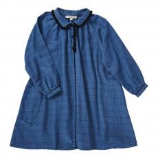 Robe Carreaux Détails Piqués Verdite Bleu