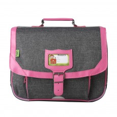 Cartable Classic 38 cm Gris Chiné Rose